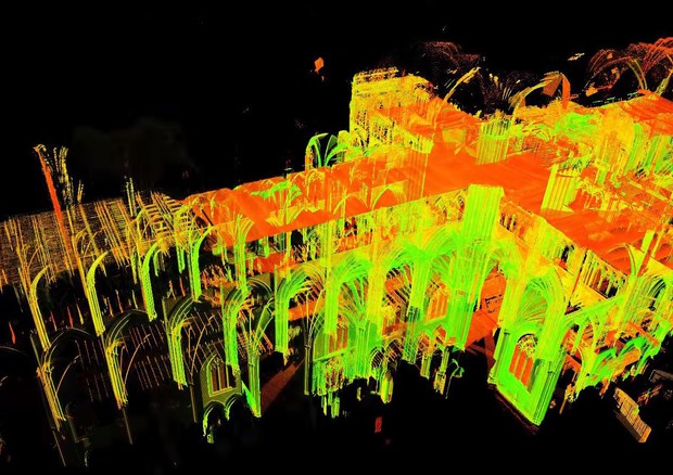 Frame dal video 'Laser Scanning Reveals Cathedral's Mysteries' del National Geographic, via Youtube © Ansa