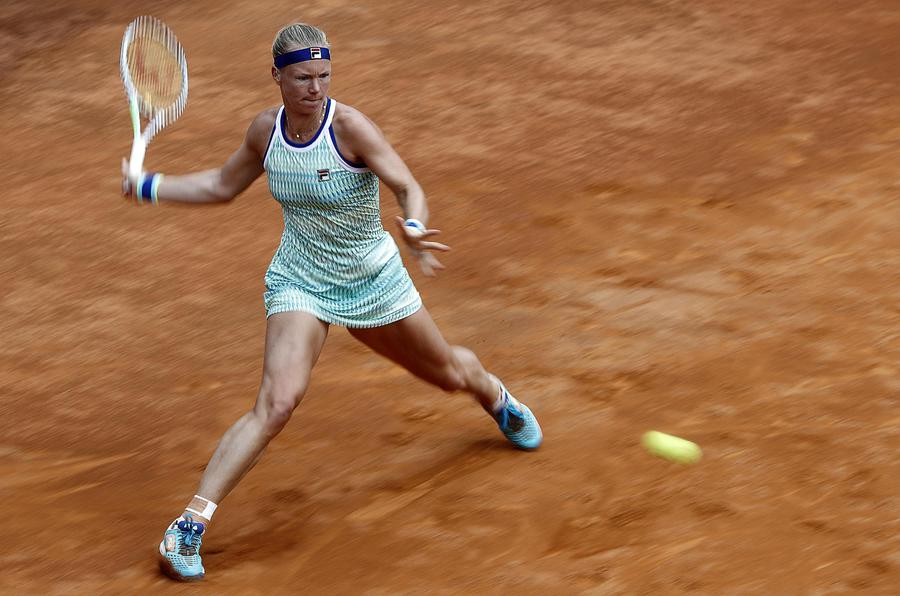 Italian Open tennis tournament in Rome - Kiki Bertens of Nederland in action against Johanna Konta of Great Britain during their womens semifinal match at the Italian Open tennis tournament in Rome, Italy, 18 May 2019. ANSA/RICCARDO ANTIMIANI © ANSA